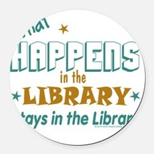 What_Happens_in_the_Library_Green Round Car Magnet