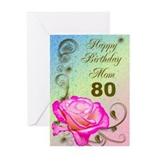 80th birthday card for mom, Elegant rose Greeting