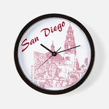 SanDiego_10x10_CaliforniaTower_Red Wall Clock