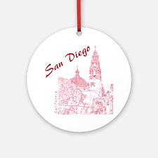 SanDiego_10x10_CaliforniaTower_Red Round Ornament