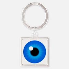 Blue Iris Eye Pupil Square Keychain