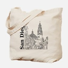 SanDiego_10x10_CaliforniaTower_SD_Vert_Bl Tote Bag