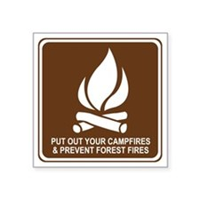 "brown_campfire_oddsign1 Square Sticker 3"" x 3"""
