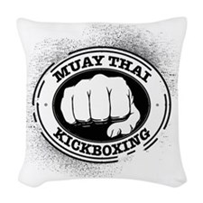 muay thai 3 Woven Throw Pillow