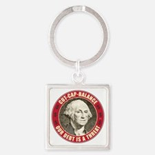 june11_our_debt_is_a_threat Square Keychain