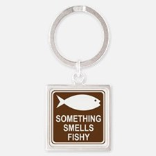 brown_fish_hatchery_oddsign1 Square Keychain