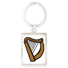 celtic_harp_coloring_book_colour Portrait Keychain