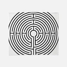 medieval labyrinth symbol icon Throw Blanket