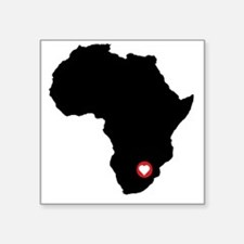 "Africa red heart Square Sticker 3"" x 3"""