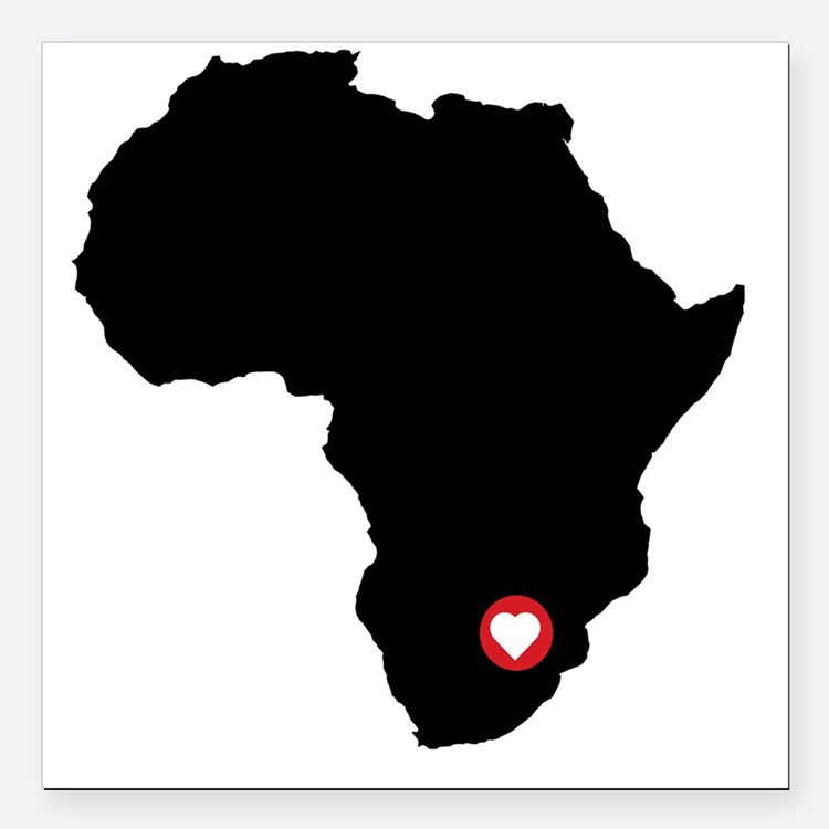 """Africa red heart Square Car Magnet 3"""" x 3"""""""