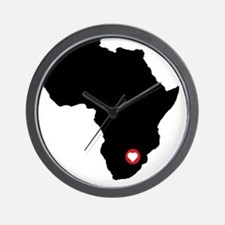 Africa red heart Wall Clock