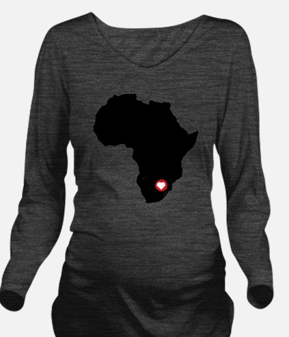 Africa red heart Long Sleeve Maternity T-Shirt