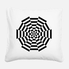 dodecagon stripe white black Square Canvas Pillow