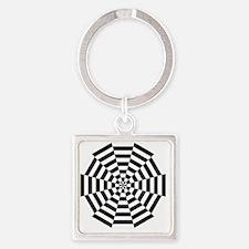 dodecagon stripe white black Square Keychain