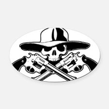 skull-crossed-pistolas-classico Oval Car Magnet