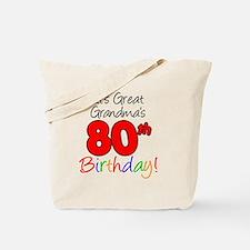 Great Grandmas 80th Birthday Tote Bag