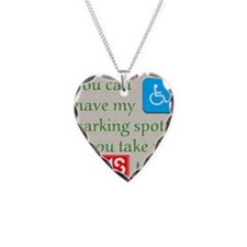 10 x 10 HandicapParking Necklace Heart Charm