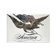 Eagle Flag-distressed-america Rectangle Magnet