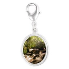 Scenic Waterfall Silver Oval Charm