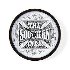 southern cross - black Wall Clock
