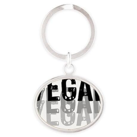 vegan-01-w Oval Keychain