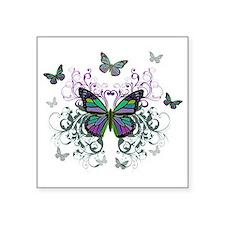 "MultiColor Butterfly Square Sticker 3"" x 3"""