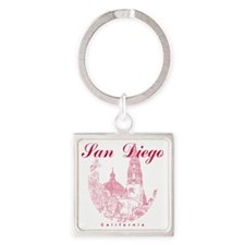 SanDiego_10x10_CaliforniaTower_Rou Square Keychain