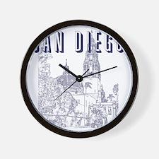 SanDiego_10x10_CaliforniaTower_Blue Wall Clock