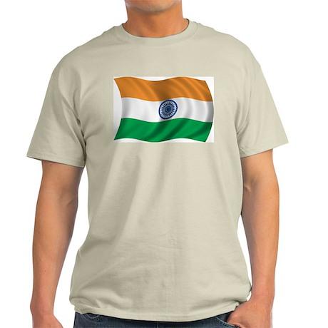Wavy India Flag Ash Grey T-Shirt