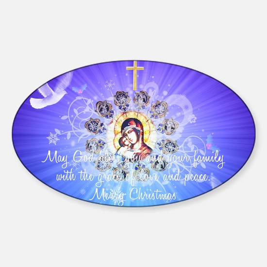 Mary and Jesus Sticker (Oval)