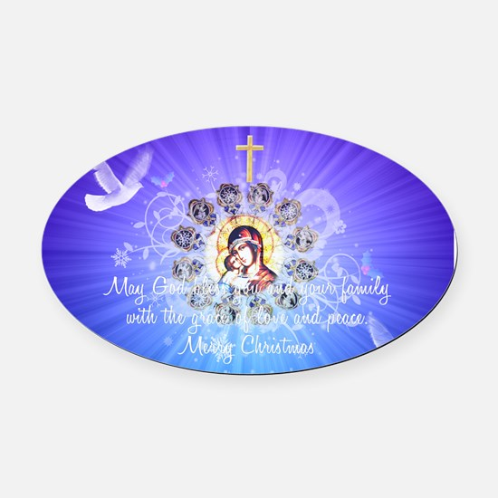 Mary And Jesus Oval Car Magnet