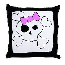 Cute Girly Skull Throw Pillow