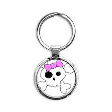 Cute Girly Skull Round Keychain