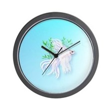 Heart Jewel White Siamese Fighting Fish Wall Clock