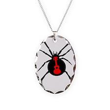 Ukulele Spider Necklace Oval Charm