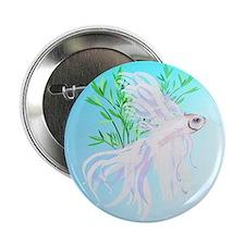 "White Siamese Fighting Fish-circle 2.25"" Button"