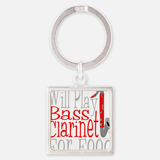 Will Play Bass Clarinet dark Square Keychain