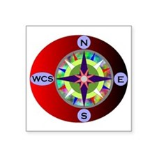"wcs compass 2 Square Sticker 3"" x 3"""