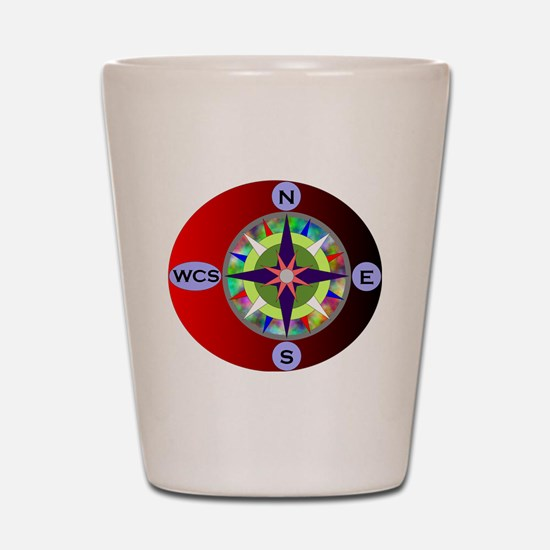 wcs compass 2 Shot Glass