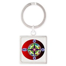 wcs compass 2 Square Keychain