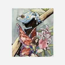 frogflowersfairy copy Throw Blanket
