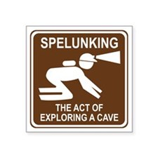"""brown_spelunking_oddsign1 Square Sticker 3"""" x 3"""""""