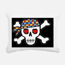 AUTskull-blkbg Rectangular Canvas Pillow