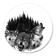 Wolves Night Moon Round Car Magnet