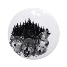 Wolves Night Moon Round Ornament