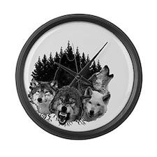 Wolves Night Moon Large Wall Clock