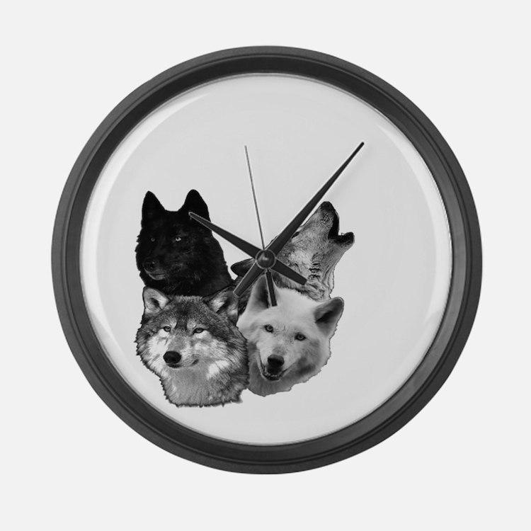 Wolves Moon 3 Large Wall Clock