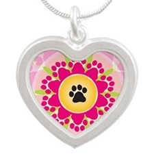 Paw Prints Flower Silver Heart Necklace