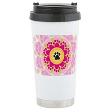Paw Prints Flower Travel Mug