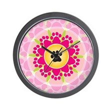Paw Prints Flower Wall Clock